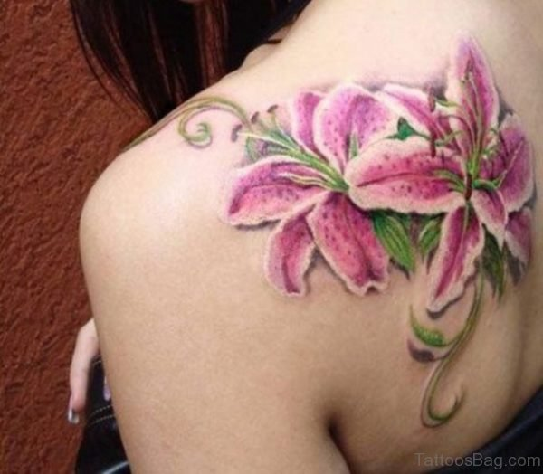 Pink Lily Flowers Tattoo For Women