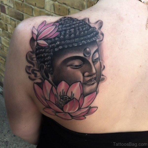 Pink Lotus And Buddha Tattoo