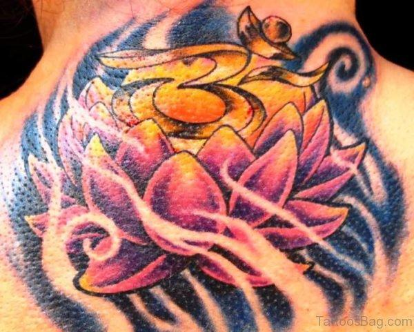 Pink Lotus Neck Tattoo