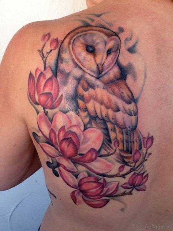 Pink Magnolia Owl Tattoo