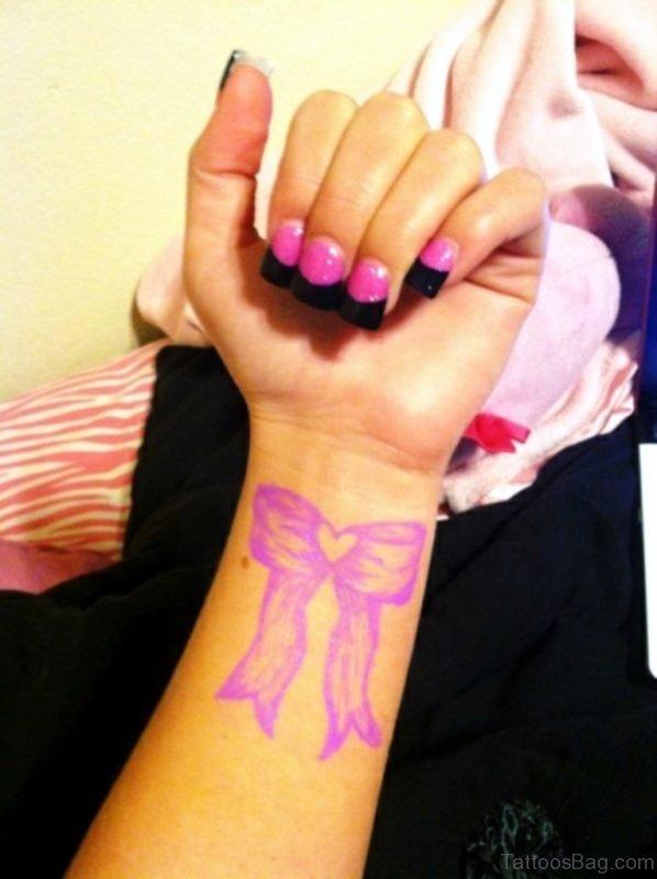 Pink Ribbon Tattoo On Wrist