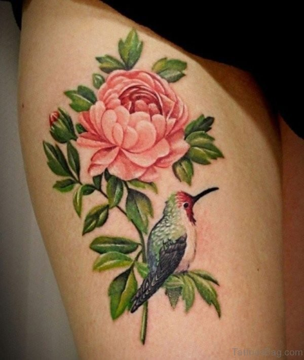 Pink Rose And Bird Tattoo On Thigh