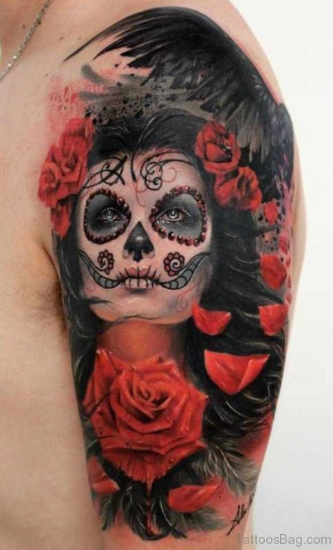 Pinup Zombie With Stitched Lips Tattoo