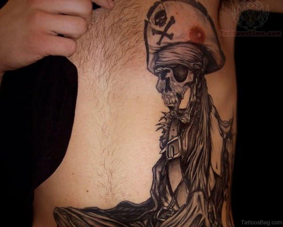 d4f955666 Pirate Girl Skull Side Rib Tattoo