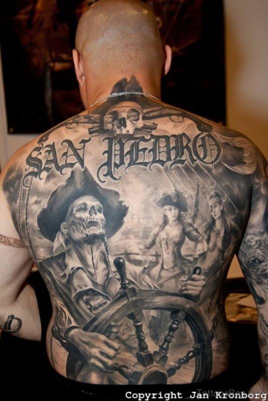 Pirate Tattoo On Full Back
