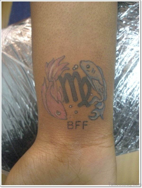 8a090b63f Pisces And Virgo Tattoo On Wrist