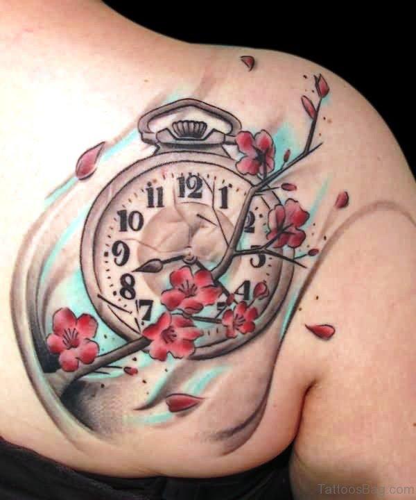 Pocket Watch With Flower Tattoo