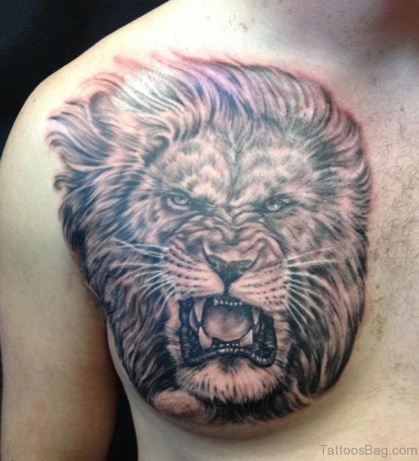 Polynesian And Lion Tattoo
