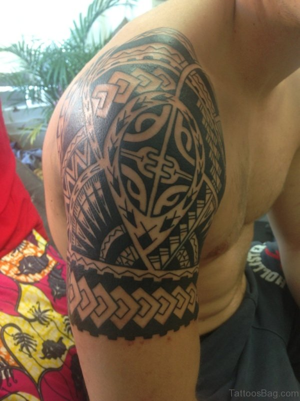 Polynesian Left Shoulder Samoan Tattoo