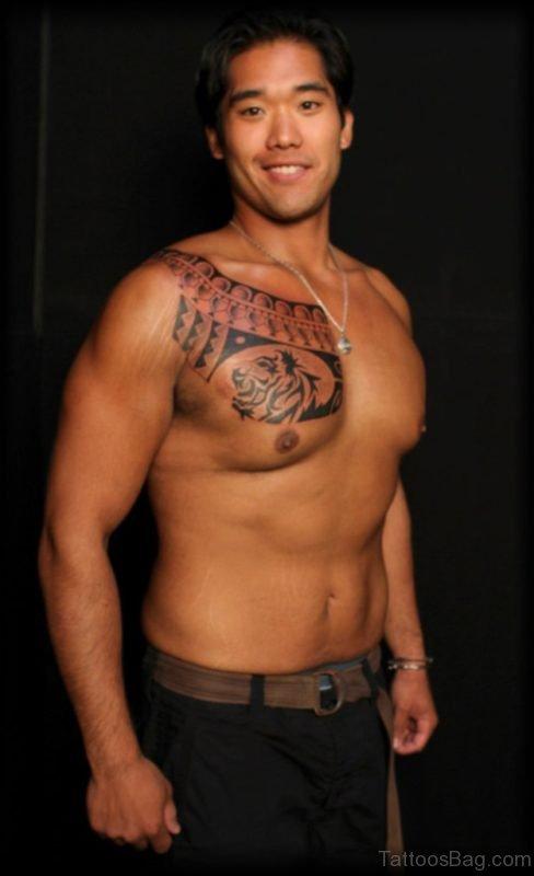 Polynesian Lion Tattoo On  Chest