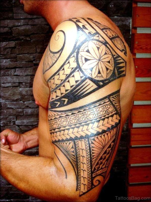 Polynesian Maori Shoulder Tattoo Design