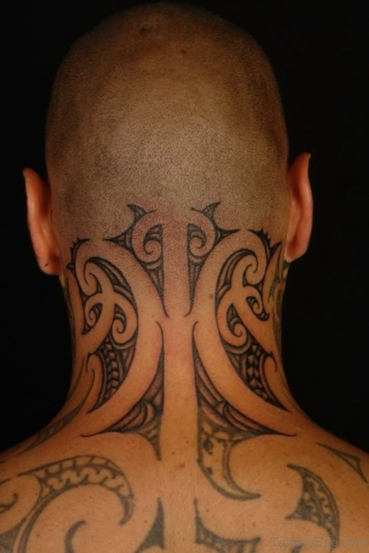 Polynesian Neck Tattoo
