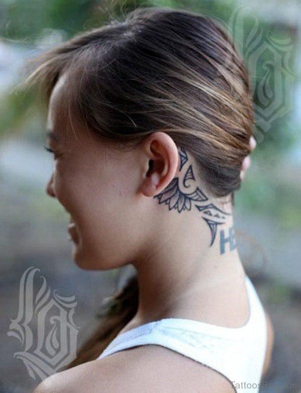 Polynesian Neck Tattoo Design