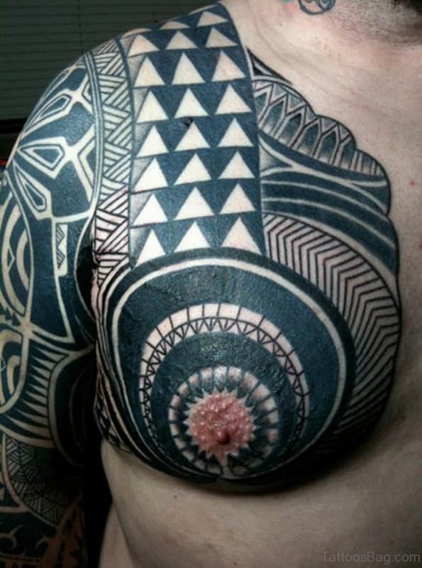 Polynesian Samoan Tattoo On Left Shoulder