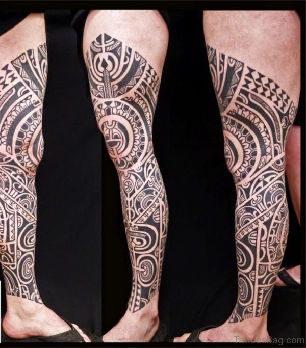 Polynesian Tribal Leg Tattoo