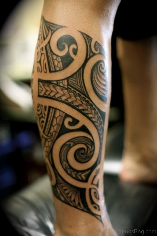 Polynesian Tribal Tattoo For Leg