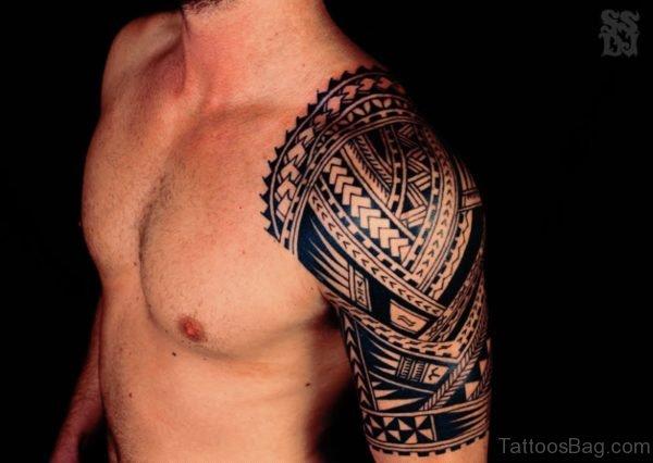 Polynesian Tribal Tattoo On Half Sleeve