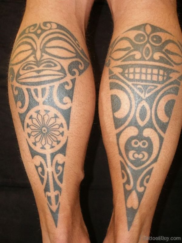 Polynesian Tribal Tattoo On Leg