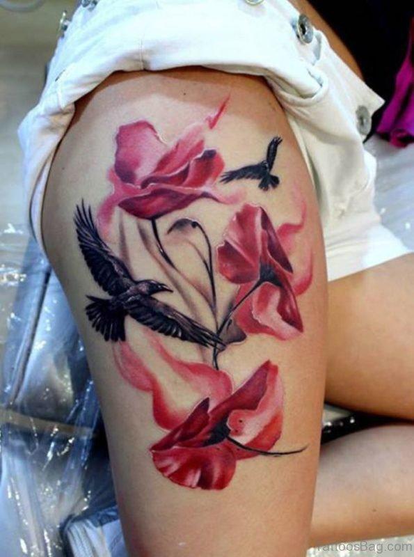 Poppy Flower And Bird Tattoo