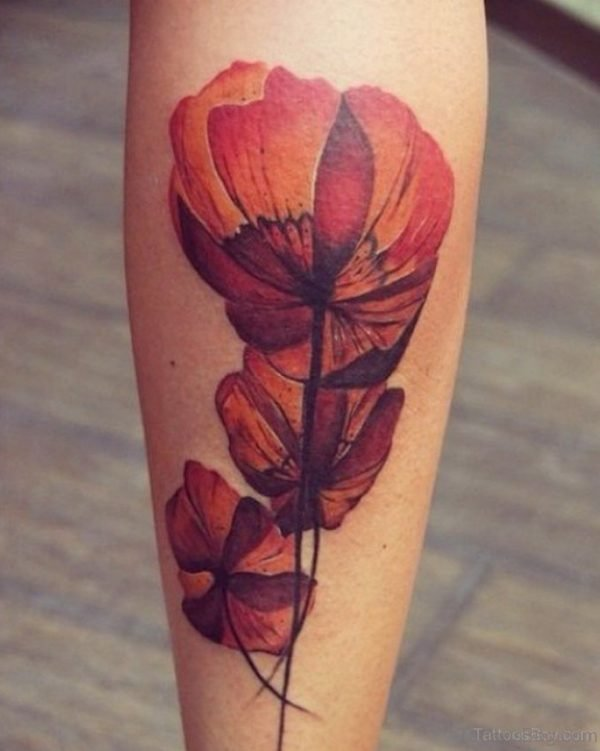 Poppy Flower Tattoo Design On Leg