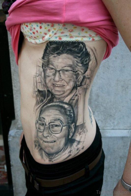 Portrait Tattoo Design On Rib