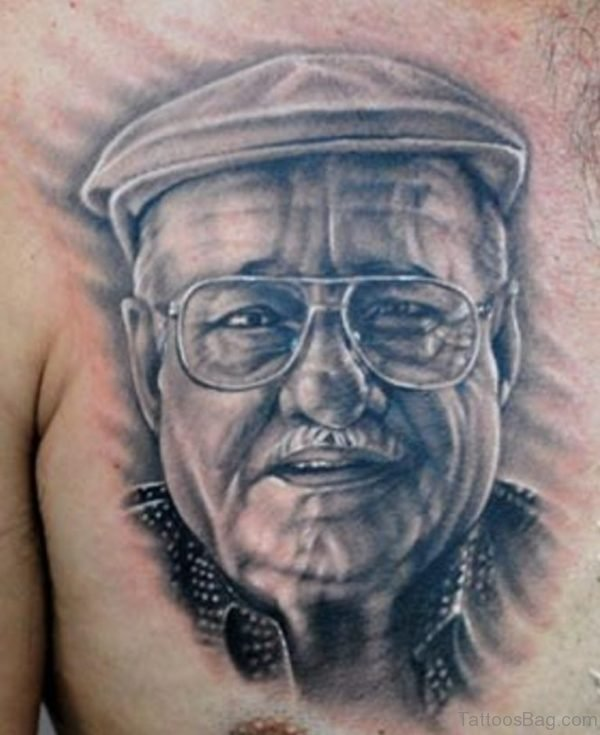 Portrait Tattoo On Chest Image