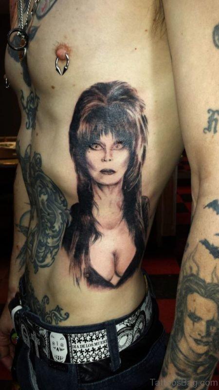Portrait Tattoo On Rib