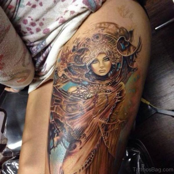 Portrait Tattoo Woman Thigh