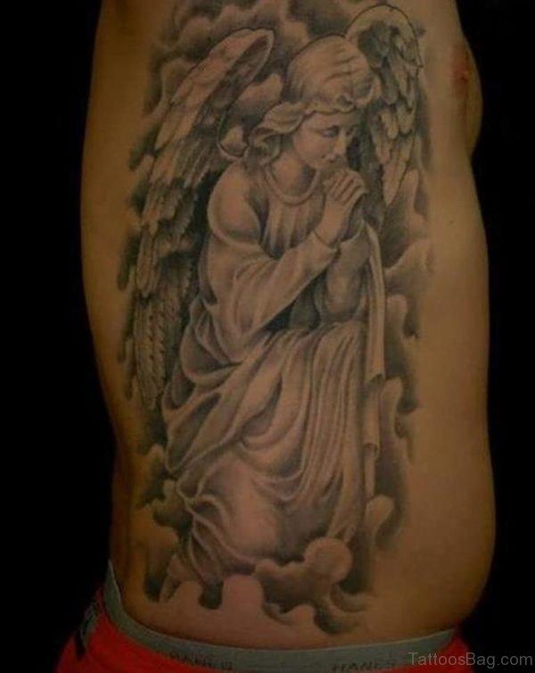 Praying Angel Tattoo On Side Rib