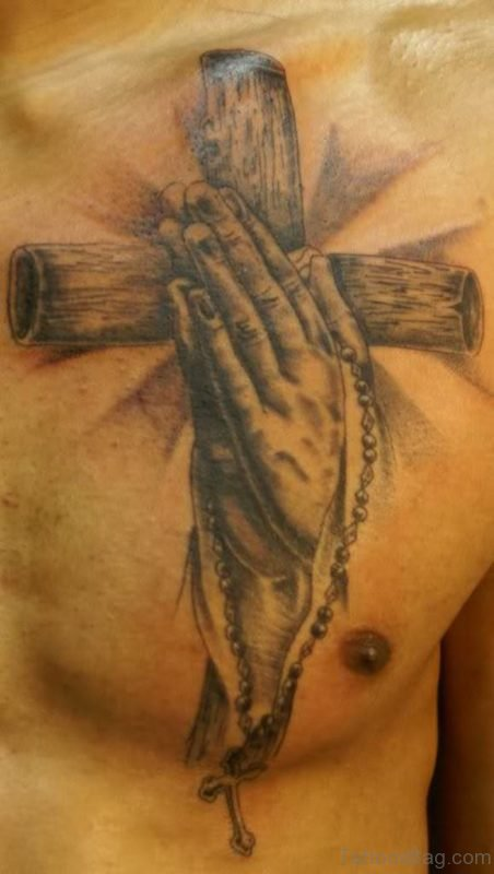 Praying Hands And Cross Tattoo