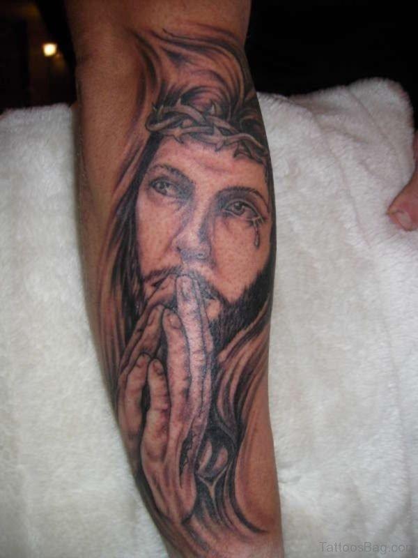 Praying Jesus Tattoo On Forearm