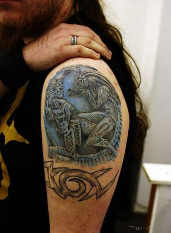 Predator Mask Tattoo On Shoulder