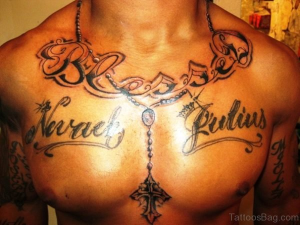 Preety Rosary Tattoo On Neck To Chest