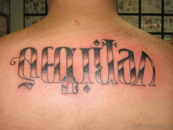Pretty Ambigram Tattoo On Back