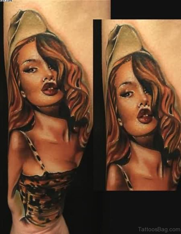 Pretty Army Pin Up Girl Portrait Tattoo