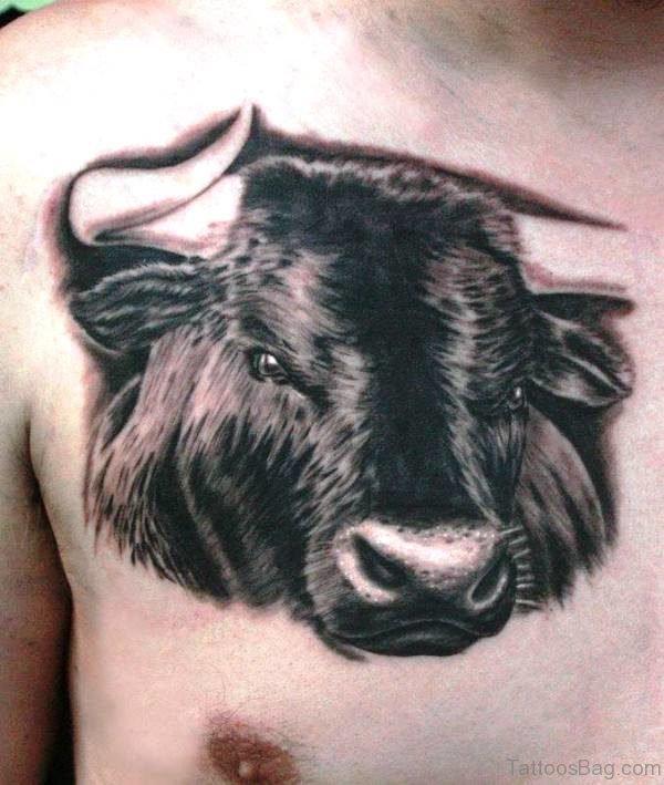 Pretty Black Bull Tattoo On Chest