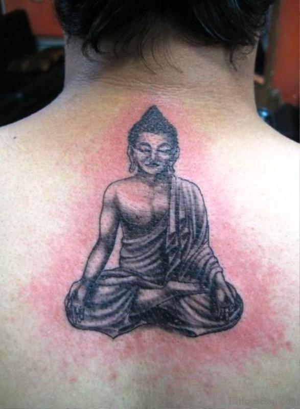 Pretty Buddha Tattoo On Back