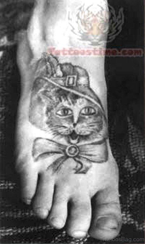 Pretty Cat Tattoo On Foot