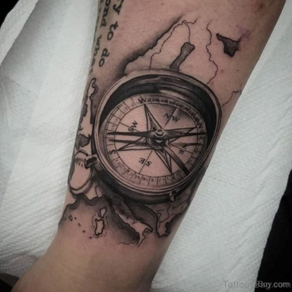 Pretty Compass Tattoo Design