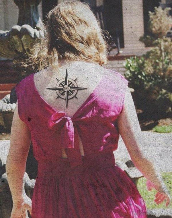 Pretty Compass Tattoo On Upper Back