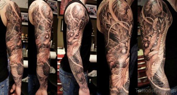 Pretty Dragon Tattoo On Full Sleeve