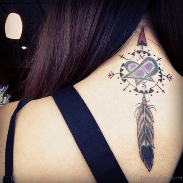 Pretty Dreamcatcher Compass Tattoo On Back