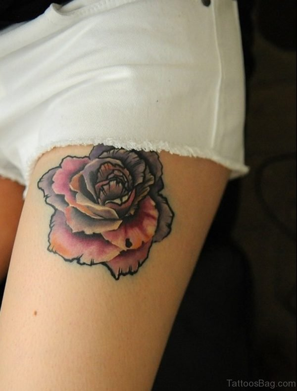 Pretty Flower Tattoo On Thigh For College Girls