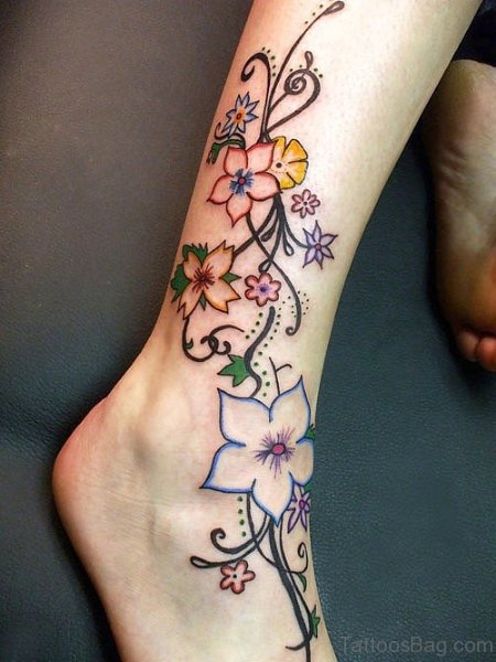 Pretty Flowers Ankle Tattoo