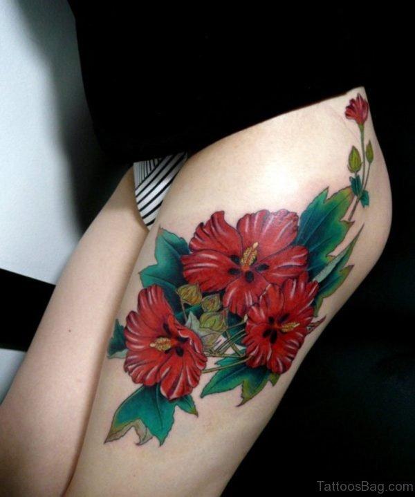 Pretty Flowers Tattoo On Thigh