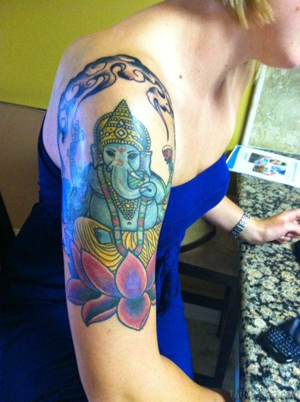 Pretty Ganesha Tattoo Design