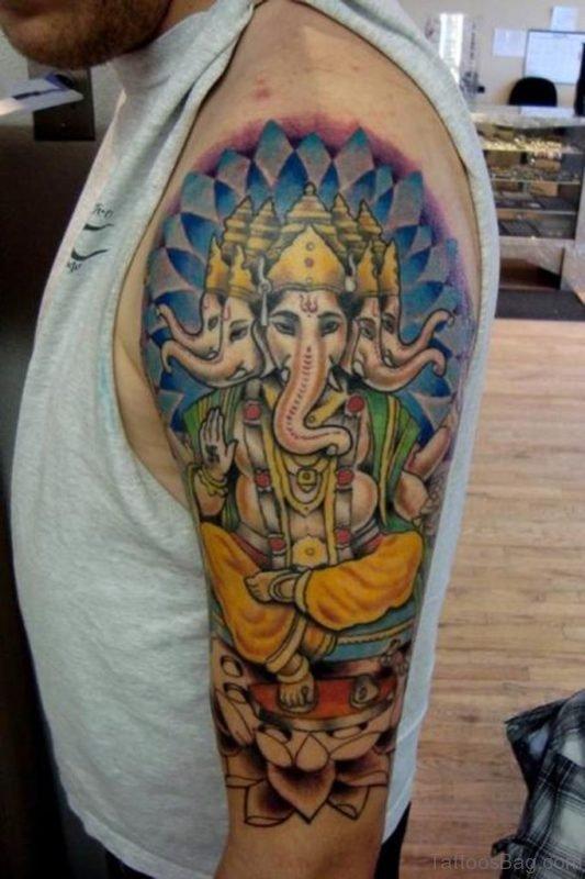 Pretty Ganesha Tattoo On Shoulder