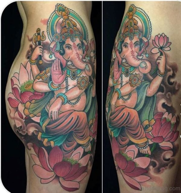 Pretty Ganesha Tattoo On Thigh