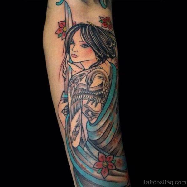Pretty Geisha Tattoo On Leg