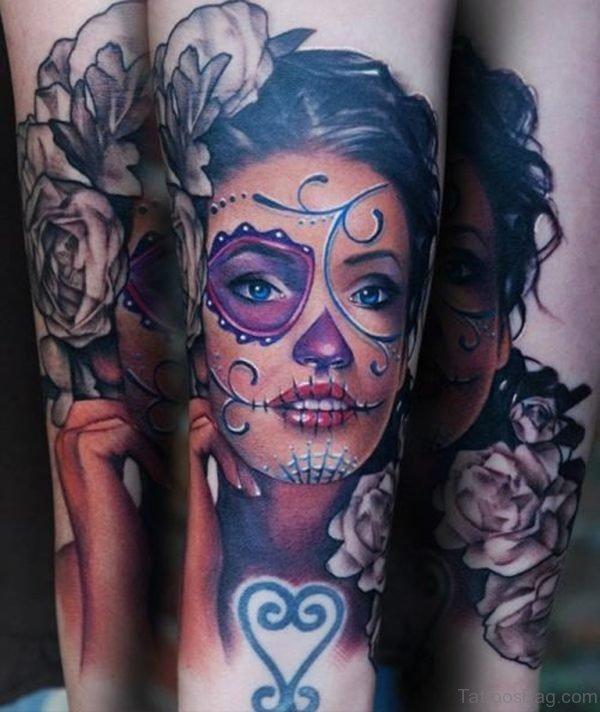 Pretty Lady Portrait Tattoo On Thigh